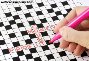 Woman completing a Crossword Puzzle with a Pink pen